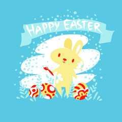 Bunny with a paintbrush. Card Easter