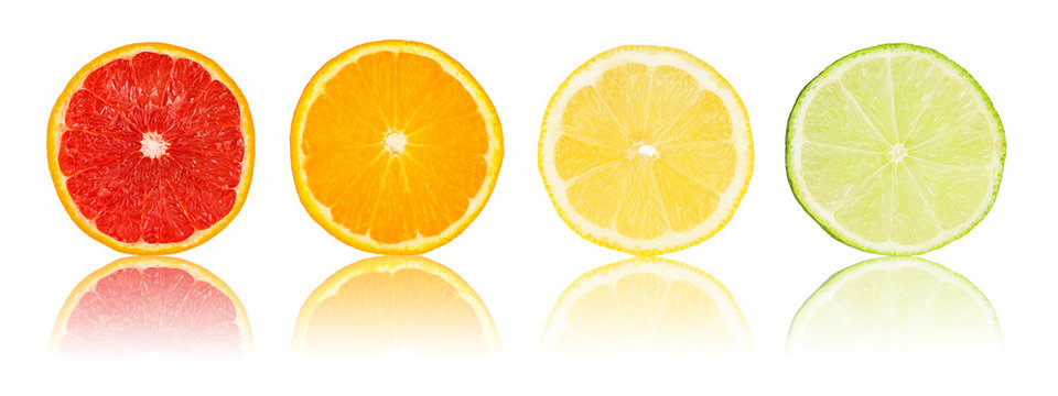 row of various citrus fruit slices isolated on white background