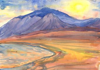 Seascape. Sun, mountains, sea, beach. Watercolor painting