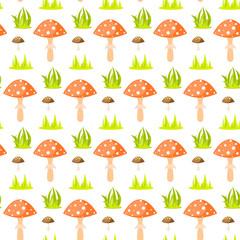 Spring forest mushroom seamless pattern. Cartoon fly-agaric fungus background.