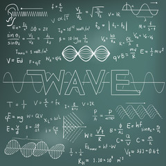 Wave physics science theory law math formula equation doodle handwriting and frequencies model icon in blackboard background used for school education and decoration (vector)