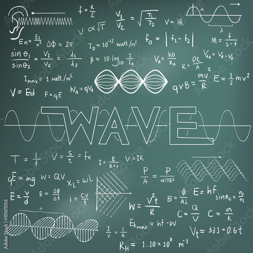 Wave physics science theory law math formula equation doodle ...