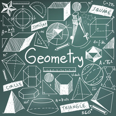 Geometry math theory and mathematics doodle icon in blackboard background with hand drawn geometric model used for school education and document decoration, create by vector