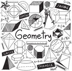 Geometry math theory mathematics formula doodle handwriting icon in white isolated background with hand drawn geometric model used for school education and document decoration, create by vector
