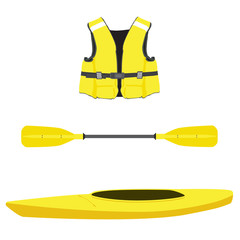 Life jacket, kayak boat and oar