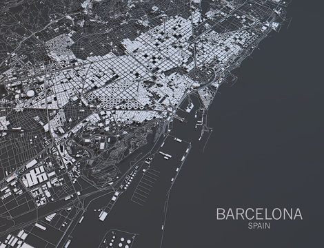 Cartina Barcellona, vista satellitare, Spagna