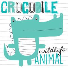 cute crocodile vector illustration