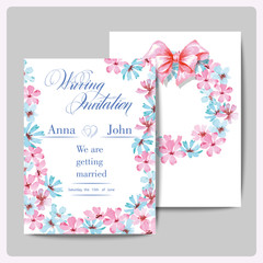 Wedding invitation cards with wreath of watercolor wildflowers. (Use for Boarding Pass, invitations, thank you card.) Vector illustration.