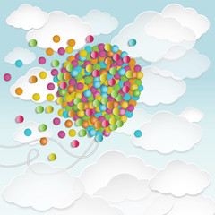 Illustration of big balloon shape filled with colorful small rou