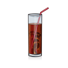 Cola soda drink with ice cubes in glass