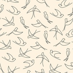Seamless pattern made of one line swallows