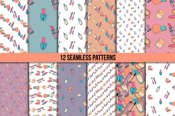 Makeup seamless pattern set