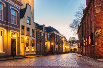 Ancient Dutch street in the city of Doesburg