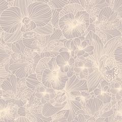 Seamless flower engraving pattern