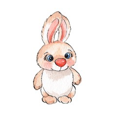 Cartoon rabbits. Watercolor illustration 01