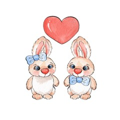 Cartoon rabbits. Watercolor illustration 03