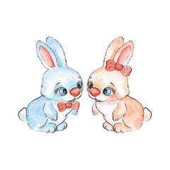 Cartoon rabbits. Watercolor illustration 05