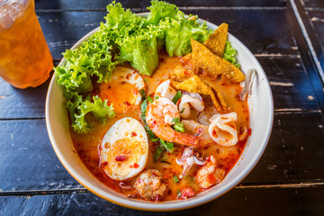 noodle tom yum and thai food with delicious