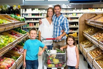Portrait of family doing shopping
