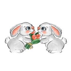 Cartoon rabbits. Watercolor illustration 33