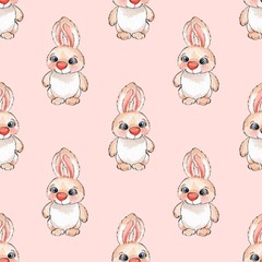 Cartoon rabbits. Watercolor seamless pattern 01