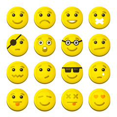 Yellow Smile Emotion Icons Set. Vector