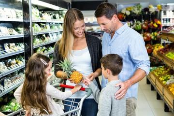 Happy family doing shopping