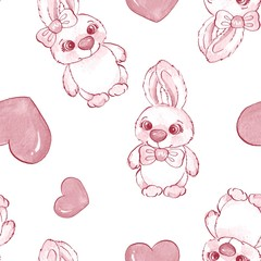 Cartoon rabbits. Watercolor seamless pattern 06