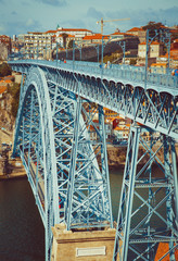 Bridge Luis I in Porto with selective focus.