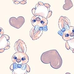 Cartoon rabbits. Watercolor seamless pattern 07