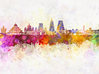 Wall Mural - Bangalore skyline in watercolor background