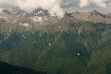 helicopter in the mountains
