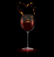 heart in a glass of red wine