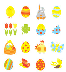 Easter elements collection with easter eggs, basket,cute  bunny , tulip, chick / vectors set for children