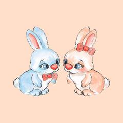 Cartoon rabbits. Watercolor illustration in vector 05
