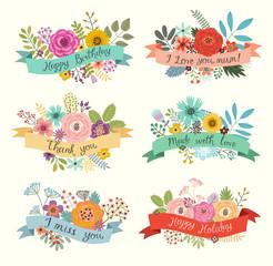 Floral hand drawn set. Vector illustration
