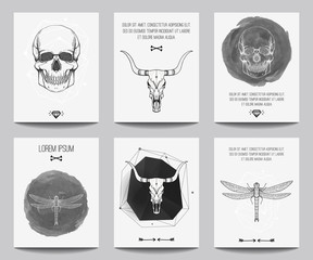 Foto auf Acrylglas Aquarell Schädel Vector set of modern gothic posters with human skulls, bull skulls, dragonflies, geometrical shapes. Trendy hipster style for flyers, banners, brochures, invitations, business contemporary design.