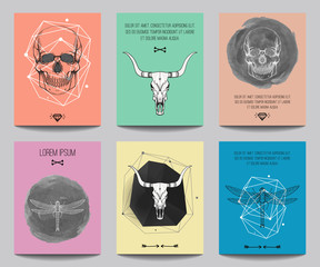 Vector set of modern posters with human skulls, bull skulls, dragonflies, geometrical shapes. Trendy hipster style for flyers, banners, brochures, invitations, business contemporary design.