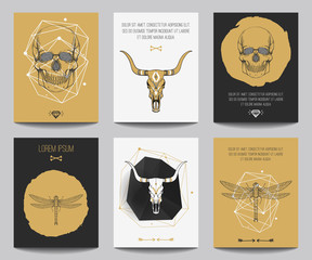 Canvas Prints Watercolor Skull ector set of gothic posters with human and bull skulls, dragonflies, geometrical shapes. Trendy hipster style for flyers, banners, brochures, invitations. Modern gold, black and white colors.