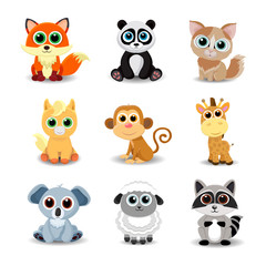 Collection of cute animals including fox, panda, cat, pony, monkey, giraffe, koala, sheep and raccoon. Color vector illustration.