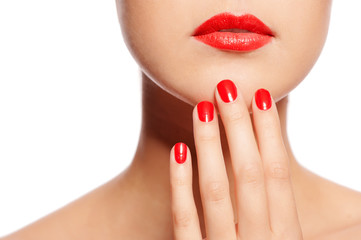 Printed roller blinds Manicure Make your lips match your fingers. Close-up of a beautiful women holding finger on her red lips isolated on the white