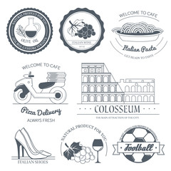Italy country set label. Template of emblem element for your product or design, web and mobile applications with text. Vector illustration with thin lines isolated icons on stamp symbol.