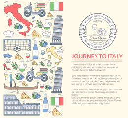 Country Italy travel vacation guide of goods, places and features. Set of architecture, fashion, people, items, nature background concept. Infographic template design for web and mobile on thin lines