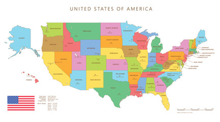 Colored united states map with names and capitals