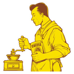 Vector illustration of man grinding coffee with old fashioned manual burr mill coffee grinder. vintage coffee ink drawing.
