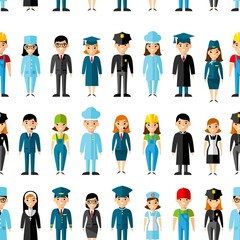 Seamless background with set of profession people icons. Seamless background occupation avatars in colorful style.