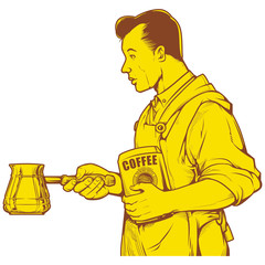 Vector illustration of man holding Turkish Coffee Pots. vintage coffee ink drawing.