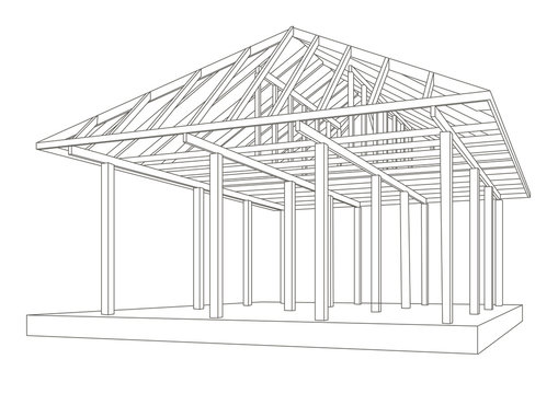 Linear architectural sketch wood frame perspective