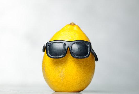 Funny lemon in sunglasses