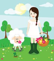 bambina felice in campagna